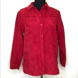 PRICE DROP‼️RED Faux Suede Button-Down Shirt Top